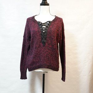 Express Maroon and Black Sweater (XS)